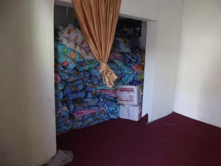 Storage room filled with duvets