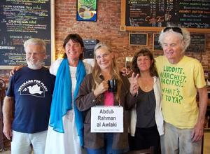 """Barry,Toby, Martha, Robin and Bill: the original """"Wheatland 5"""" on April 30, 2013, the morning of their arrest"""
