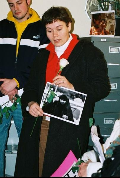Le Anne Clausen (photo: Laurie Hasbrook): Le Anne Clausen, seminarian at Chicago Theological Seminary, joins us in remembering the White Rose.  Le Anne lived in Iraq with Christian Peacemaker Teams.  She will soon begin a jail sentence for nonviolent resistance at the School of the Americas.