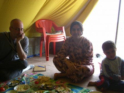 UNHCR Camp in Northern Iraq: Gerald Paoli (left) with the Camp Nurse and child at the UNHCR camp in northern Iraq.