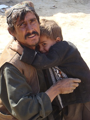 Afghan father and son displaced by war living on the outskirts of Kabul: Photo- Jerica Arents