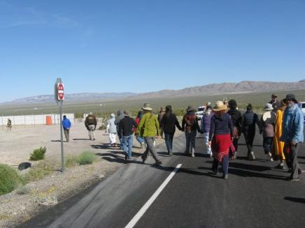 the Sacred Peace Walk arrives at the Nuclear Test Site