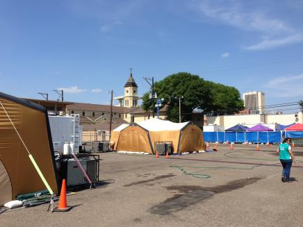 Tents outside Sacred Heart Church