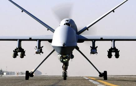 A Reaper drone on an airstrip in Kandahar. Library photo/Ministry of Defence.