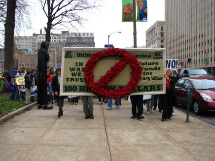 """The Bill"" shown at the beginning of an anti-war march in Downtown St. Louis."