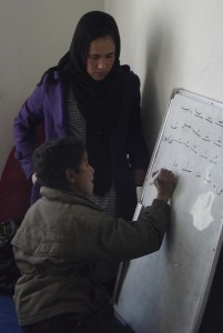 Zarghuna with one of her students