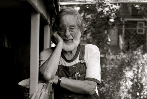 Karl Meyer at his chicken coop