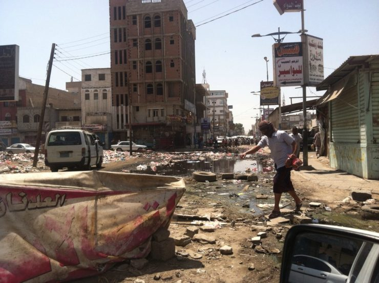 Damaged water and sewage systems in Al Sikh Osman, Aden, Yemen